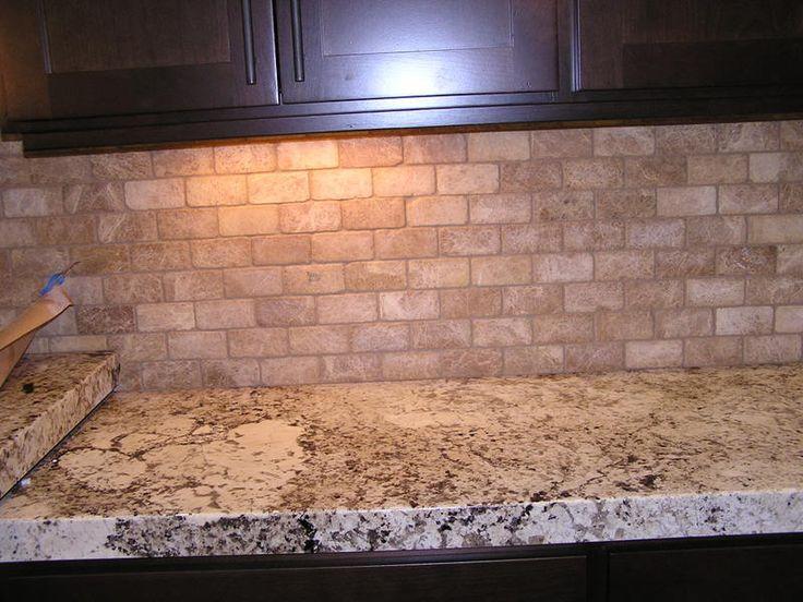 travertine backsplash kitchen tile pinterest