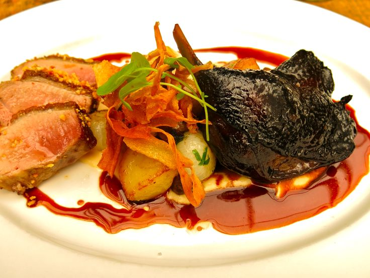 , hazelnut crusted duck breast and red wine braised duck leg, parsnip ...