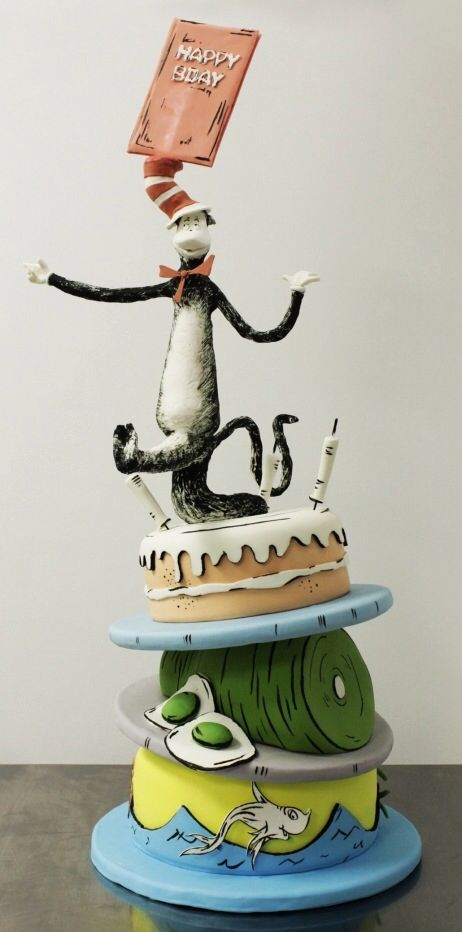 Adorable Dr. Seuss Cake  I think the designer is Cakebuds.