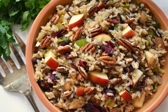 Gluten-free Brown & Wild Rice Stuffing with Apples, Cranberries & Pec...
