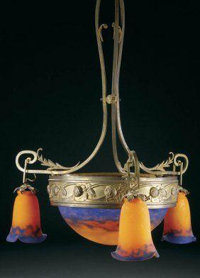 Muller Fres French art glass chandelier.