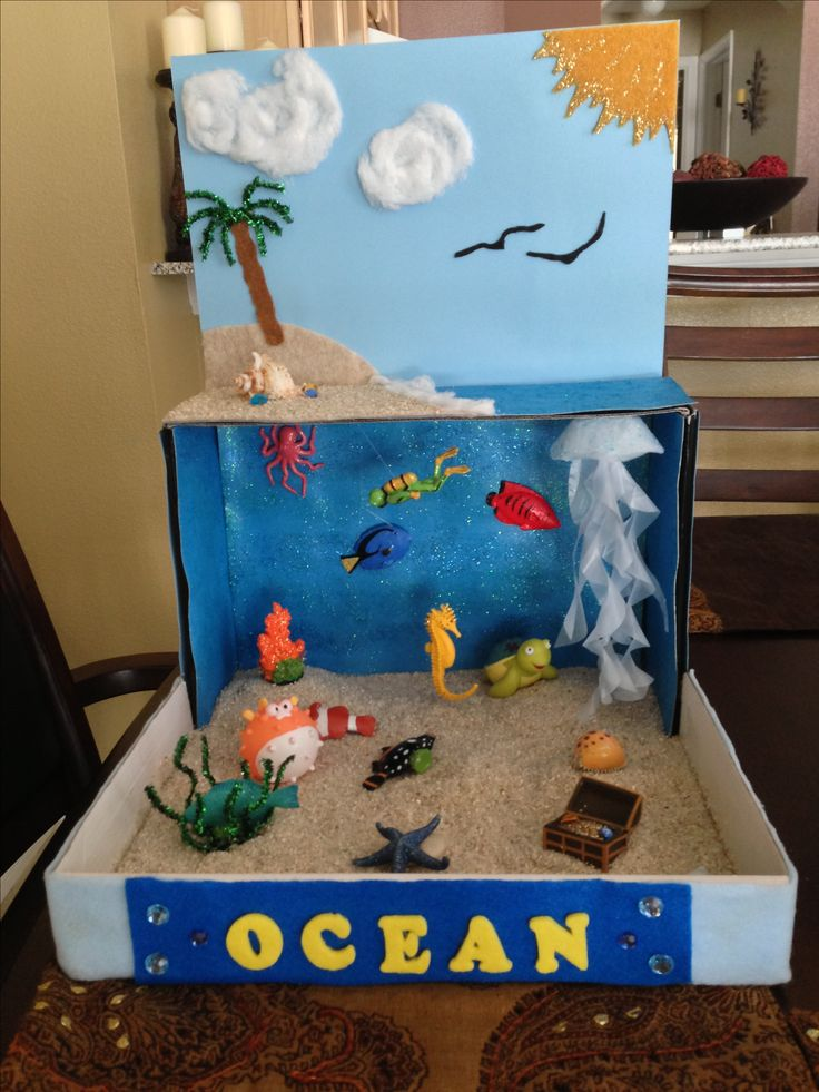 Ocean diorama for school project  Idea for Henry-- 2nd grade project. Remember to use those extra floral gems for the water...