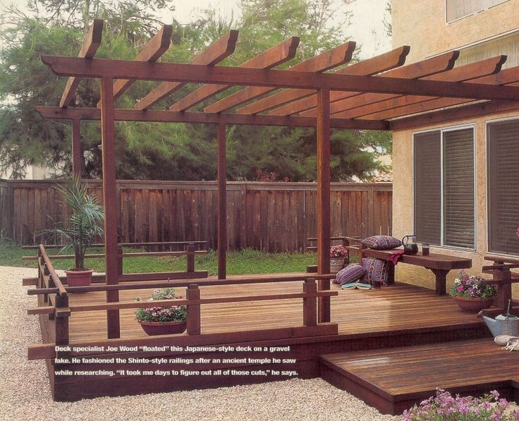 japanese style deck and pergola outdoor and garden. Black Bedroom Furniture Sets. Home Design Ideas
