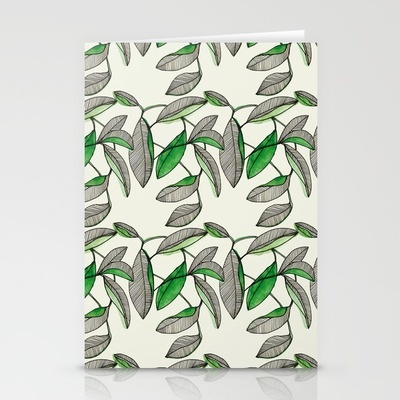 Watercolor Leaves by Marina Molares STATIONERY CARDS / SET OF 3 FOLDED CARDS