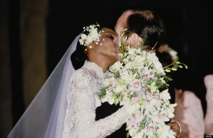 Diana Ross marries Arne Næss Jr. at a church in Switzerland in 1986