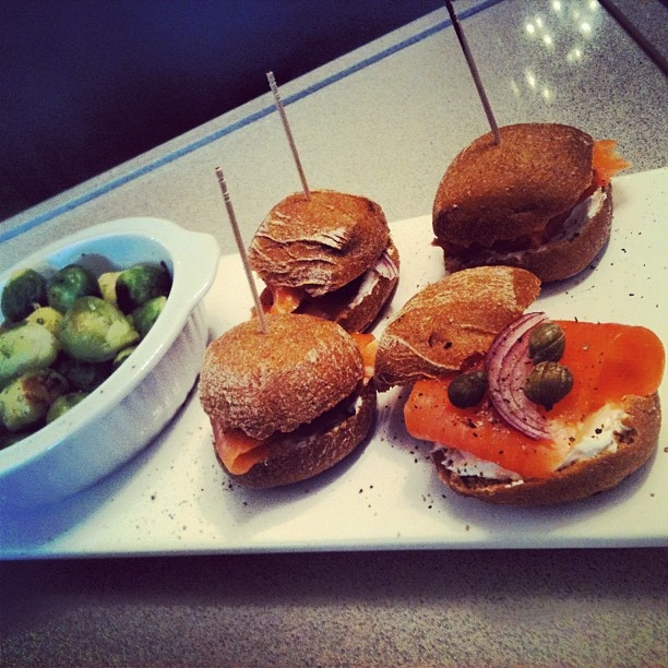 Mini rye buns with skinny cream cheese, smoked salmon, red onion and ...