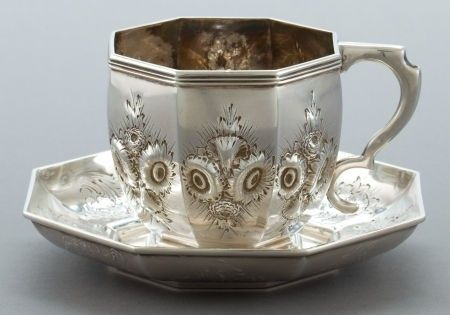 JOHN C. MOORE COIN SILVER CUP AND SAUCER   John C. Moore, New York, New York, circa 1840