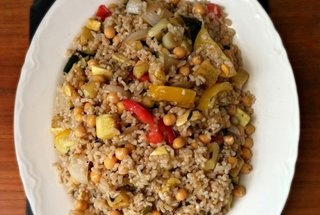 Warm Brown Rice And Grilled Vegetable Salad Recipe — Dishmaps
