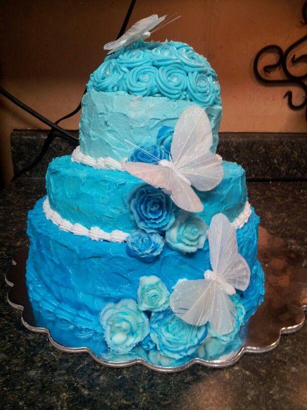 Quinceanera blue ombre cakeQuinceanera Cakes Blue