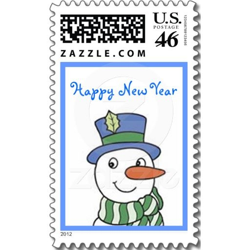 Snowman New Year's Day United States Postage Stamp Design from Stamps by Janz