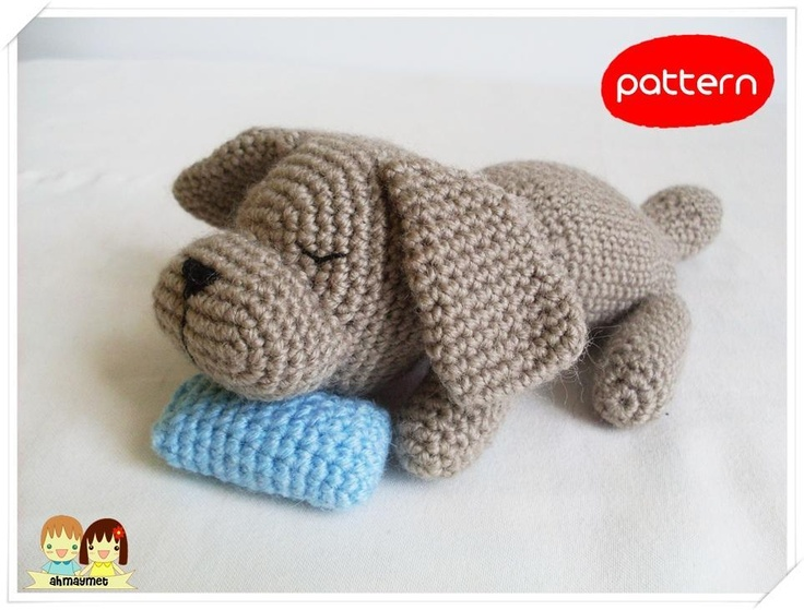 Crochet Patterns Pets : Sleepy Doggie Amigurumi by Ahmaymet Crocheting Pattern