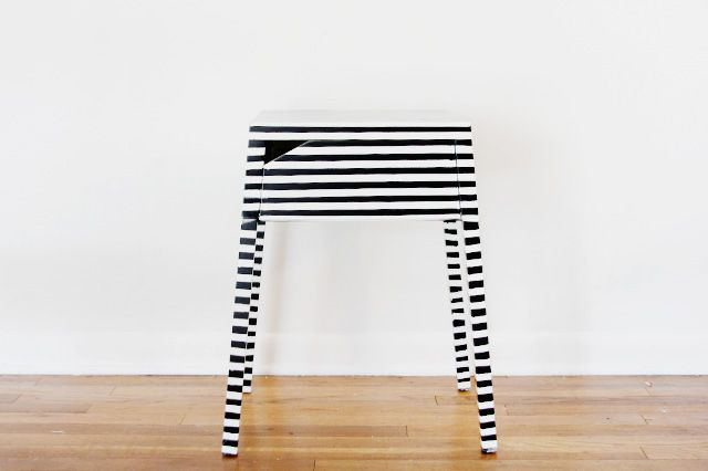 striped ikea nightstand