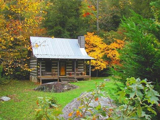 Cute Forest Cabin Log Cabins Pinterest