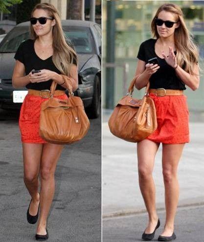 Black V-neck t-shirt + bright skirt (love the red!) + belt