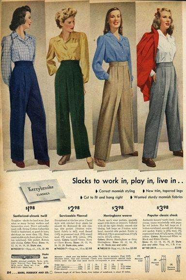 Fall fashion trends of the 1940s : Due to wartime necessity, trousers for women gain popularity for their functionality and smartness.