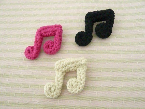 Free Crochet Patterns For Music Notes : Crocheted Cotton Music Note Brooch crochet Pinterest