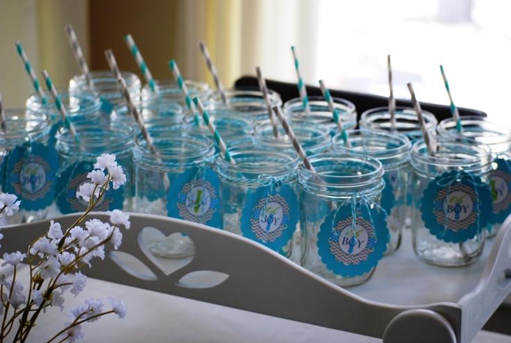 Mason jars with striped straws OH BOY!!   My Baby Shower   Pinterest