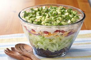 Layered Tex Mex-Taco Salad recipe | food | Pinterest