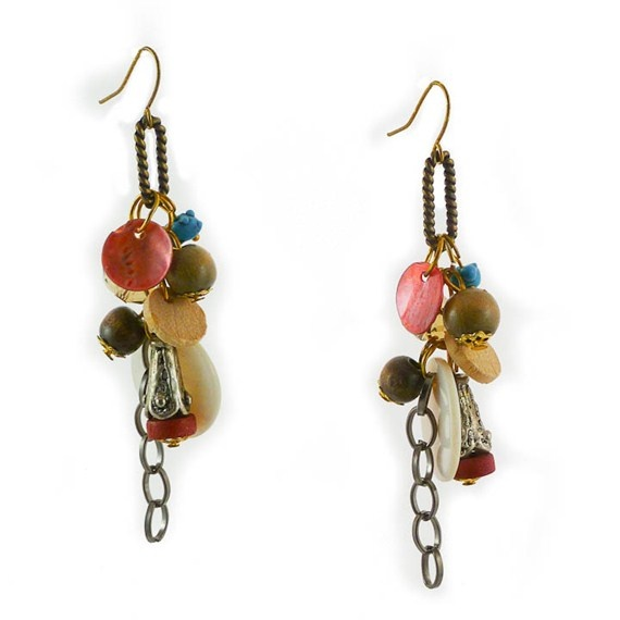 Copper, Green, Turquoise, Wood Bead Earrings $19