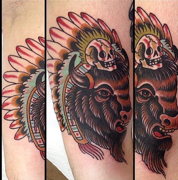Buffalo tattoo more tattoos pinterest for Traditional bison tattoo