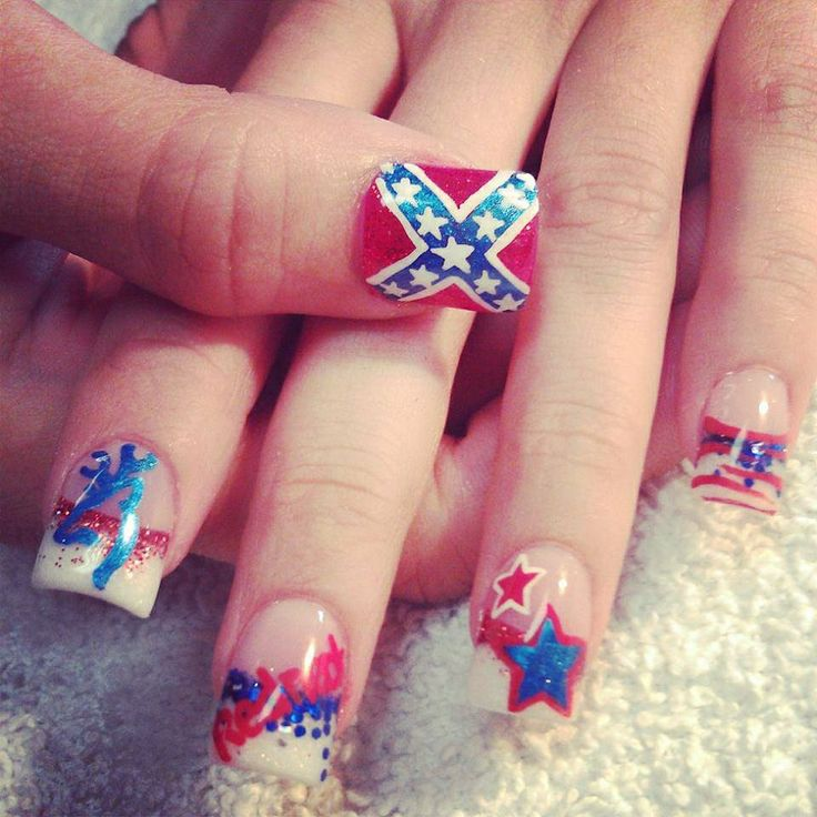 ... rebel flag acrylic nail designs. View Images ... - Acrylic Nail Designs Rebel Flag ~ Rebel Flag Nail Designs