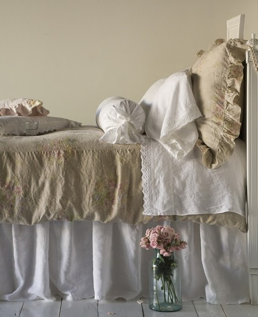 Shabby chic linen bedding dream home pinterest for Linge shabby chic