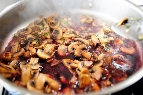 Steak with burgundy mushroom sauce. I have got to try this!