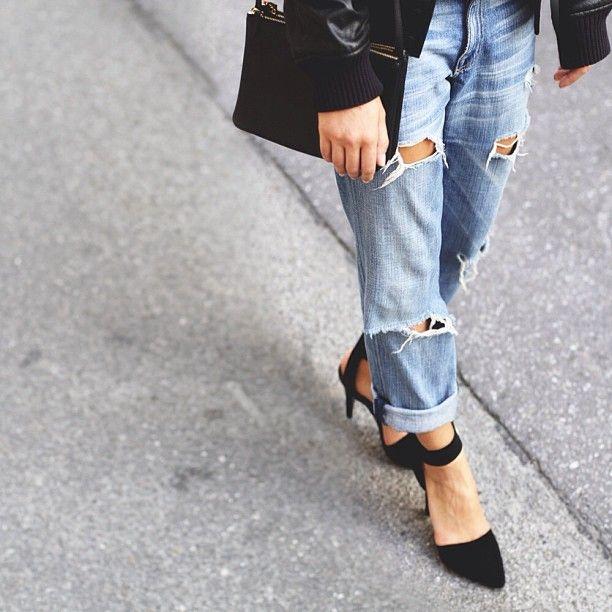 Boyfriend jeans + heels. | Fancy That! | Pinterest