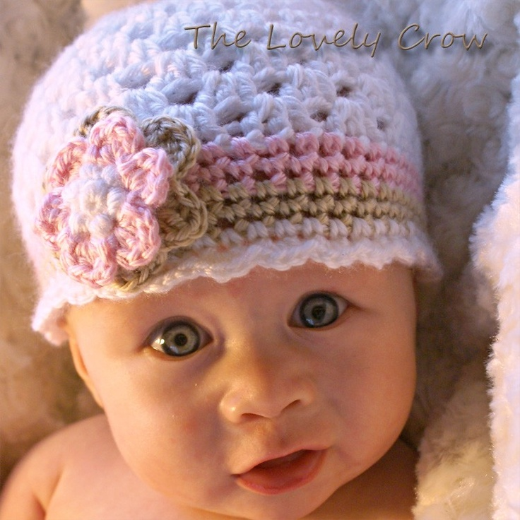 Crochet Patterns Infant Hats : Baby Girl Hat Crochet Pattern for Ebeths Princess Beanie - sizes from ...