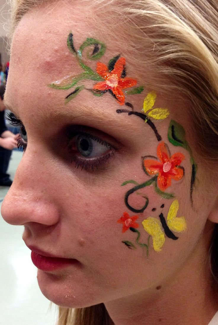 face painting flower scrolling vine myface painting