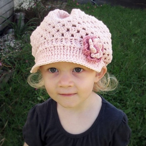 Crochet Pattern Hat Girl : Very-Girly-Brimmed-Hat Hat Crochet Patterns Pinterest