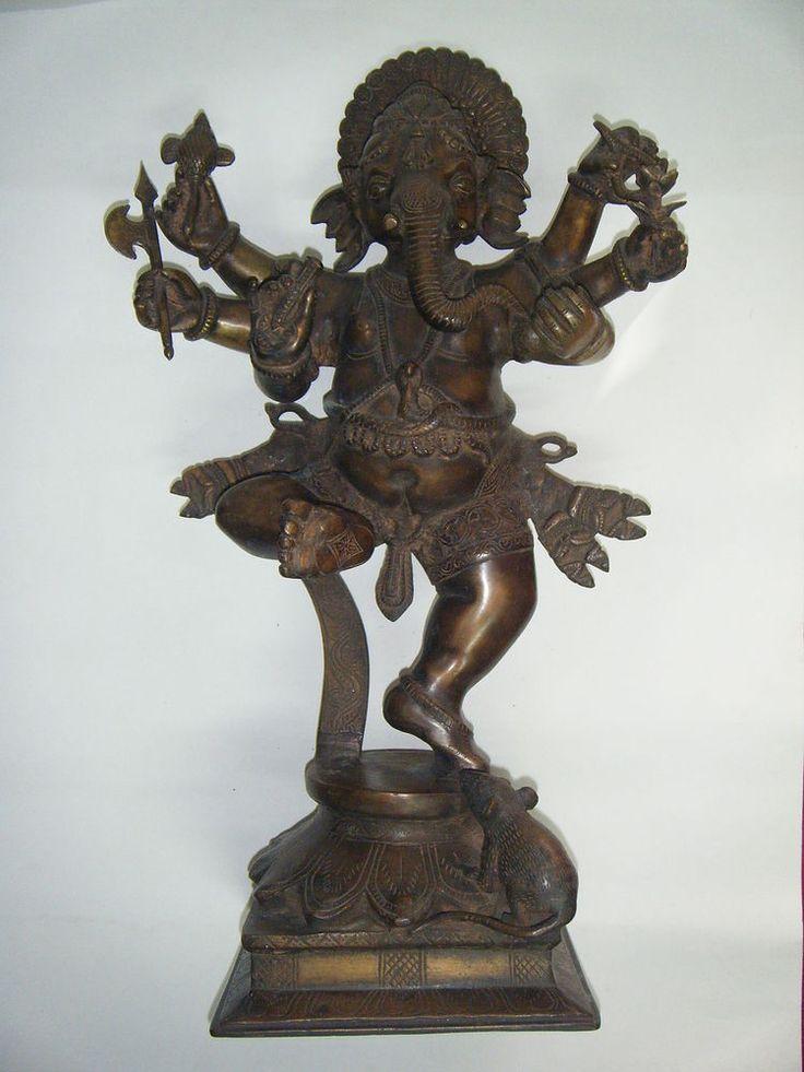 Antique Rare Dancing Ganesha Statue Brass Large Elephant ...