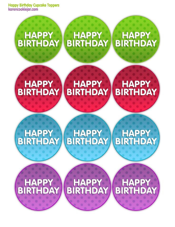 Happy Birthday Cupcake Toppers Printables ~ Happy birthday printable cupcake toppers pinte