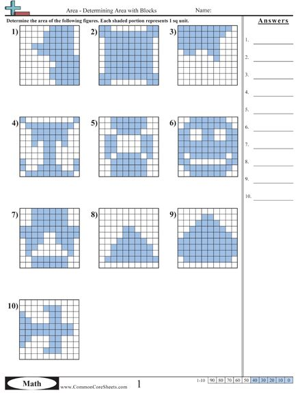 Finding area in square units 3rd grade worksheets