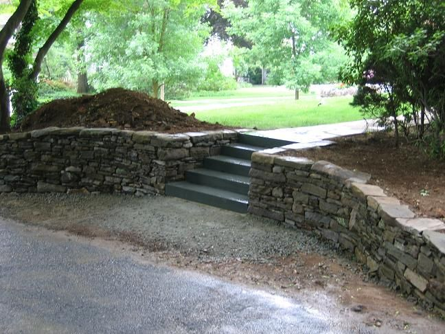 stacked stone wall Designing the Landscape Pinterest