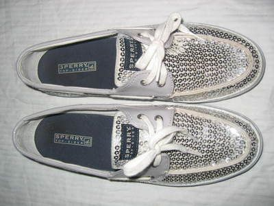 top sider womens size 10 silver sequined boat shoes tennis shoes guc