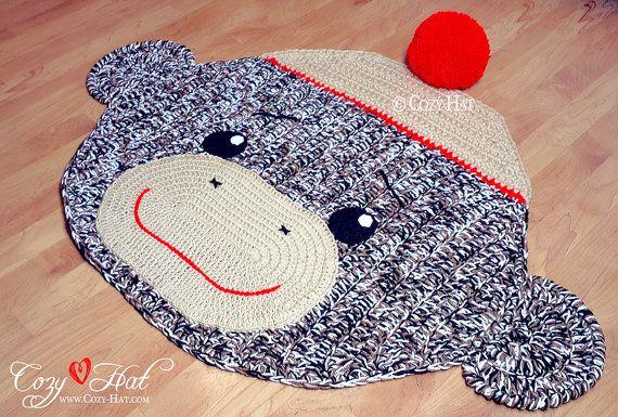 Sock Monkey Rug. Hand Crocheted