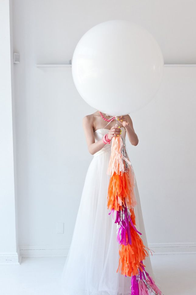 love this shot!  bride, big white #balloon and streamers