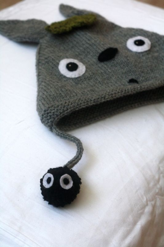 Knitting Pattern For Totoro Hat : top down bonnet with pattern Totoro~ Studio Ghibli