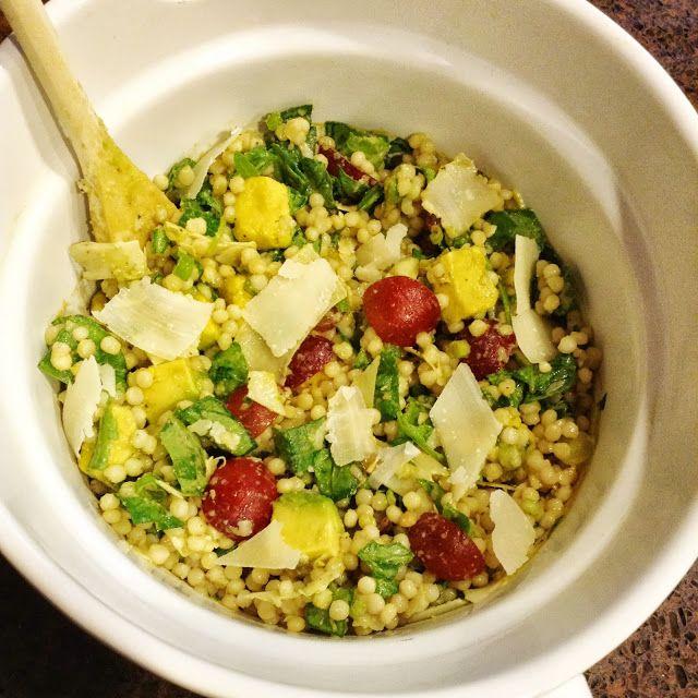 Pearl couscous salad with grapes, avocado, arugula, & balsamic vinegar ...