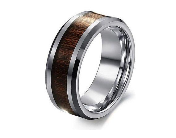 mens wood wedding band titanium ring carbon fiber wood inlay