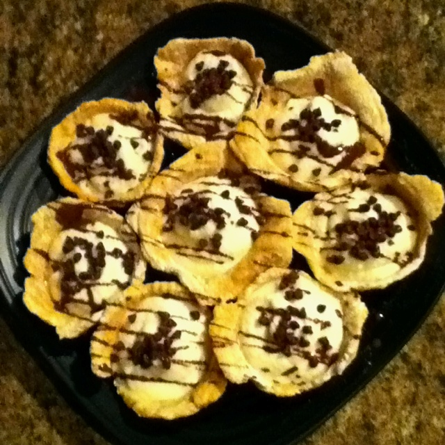 Homemade cannoli 'cups' :) I just used a basic cannoli crust recipe ...