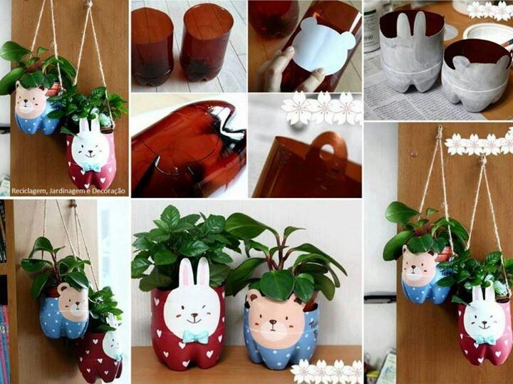 Soda bottles into cute flower pot