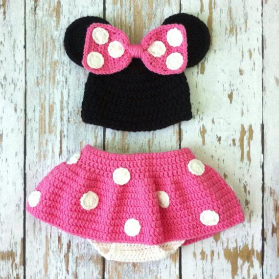 Crochet Pattern For Baby Mermaid Costume : Pink Minnie Mouse Crochet photo prop outfit 0-18 months