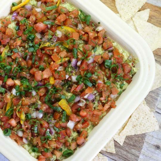 Healthy Mexican Layer Dip (Vegan) | dips, salsa's & sauces | Pinterest