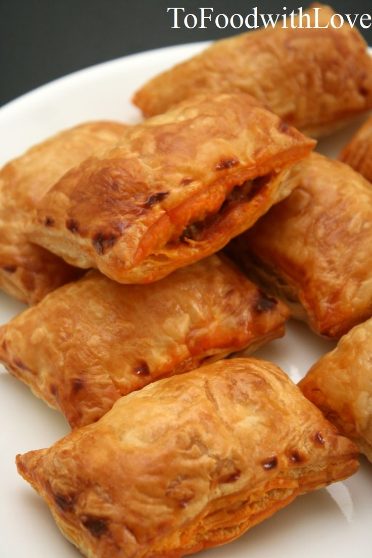 Chicken Curry Puffs-- like samosas, but with store bought puff pastry