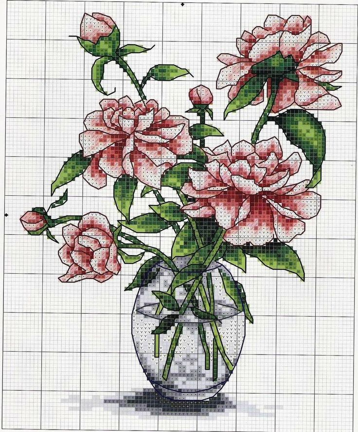 Схемы вышивок ваз для цветов 735