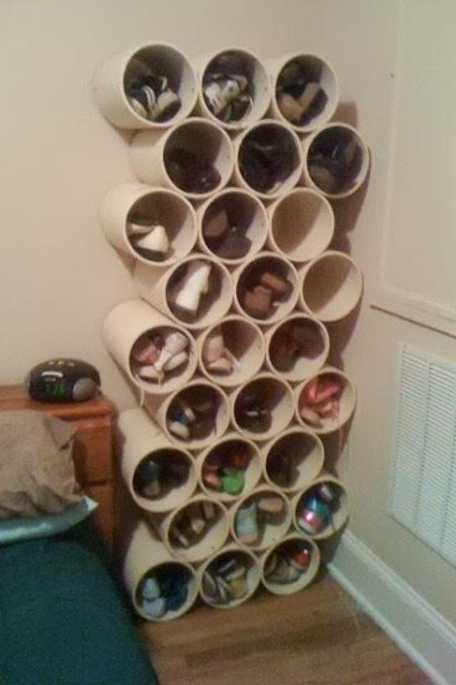 shoe storage out of pvc pipes misc pinterest