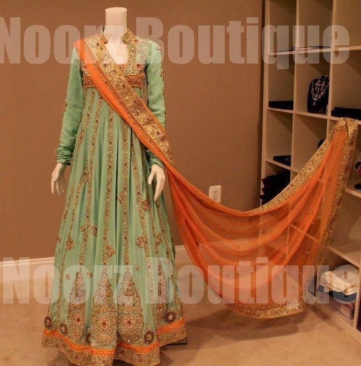 Green orange boutique party wear source http pakifashion com party
