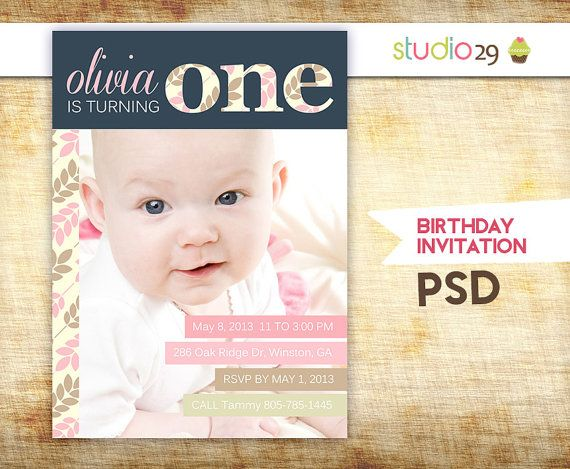 First Birthday Invitation Photoshop Template by StudioTwentyNine, $8 ...